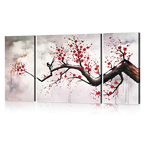 Yatsen Bridge Modern Chinese Style Cherry Blossom The Plum Blossom Tree Wall Art Picture 3pcs Oil Paintings on Canvas for Living Room Home Decor Framed Stretched Gallery Canvas Wrap Artwork