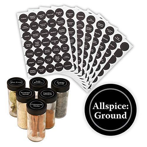 AllSpice 315 Preprinted Water Resistant Round Spice Jar Labels Set 1.5