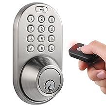MiLocks QF-02SN Keyless Entry Deadbolt Door Lock with Electronic Digital Keypad and RF Remote Control, Satin Nickel