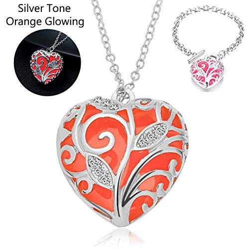 RINHOO Steampunk Magical Fairy Glow in The Dark Heart Charms Pendant Necklace White Gold Plated (Orange Set)