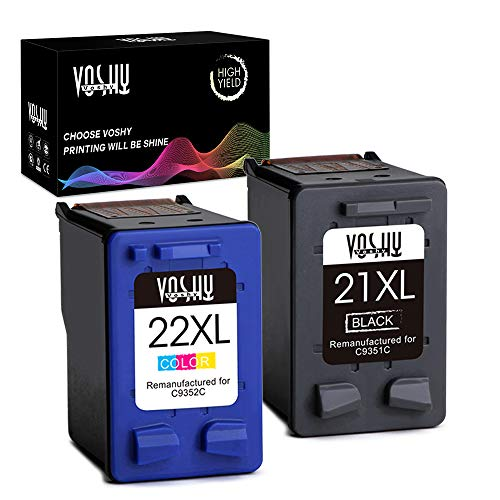 Voshy Remanufactured Ink Cartridge Replacement for HP 21 22 21XL 22XL Work with Officejet 4315 J3680 Deskjet F4140 F4180 F380 3930 D1430 D1455 PSC 1410 Printer (Black and Tri-Color, 2-Pack, - Cartridge Inkjet 21 Print