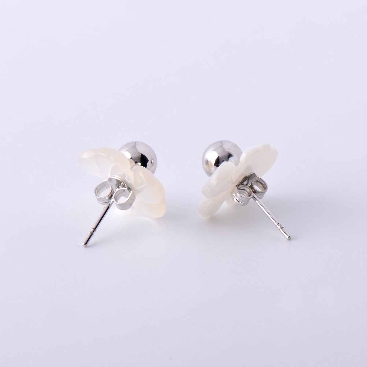 Paialco Mother of Pearl Flower Shape Earring Jackets Ball Silver Tone 6MM by Paialco (Image #3)
