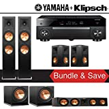 Klipsch RP-280F 5.2-Ch Reference Premiere Home Theater System with Yamaha AVENTAGE RX-A1070BL 7.2-Channel Network AV Receiver
