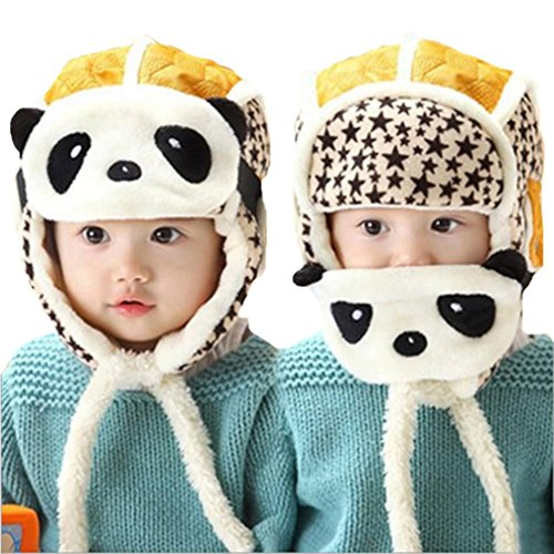 s Winter Earflap Hat Scarf Hood Scarves Skull Caps (Yellow A) (Cotton Micro Rib)
