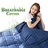 MOREHM Improved Design Weighted Blanket Adult 20 lbs Queen Size, 100% Cotton Fabric Heavy Blankets with Premium Glass Beads (60'x80' 20lbs, Navy Blue)