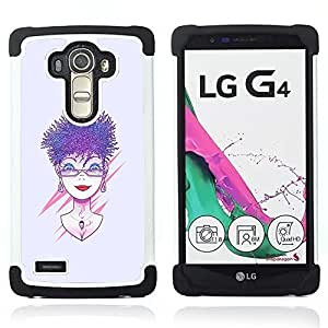 """LG G4 H815 H810 H811 LS991 LS986 US991 H815 U812 - 3 en 1 impreso colorido de Altas Prestaciones PC Funda chaqueta Negro cubierta gel silicona suave (Púrpura pelo de la mujer"""")"""