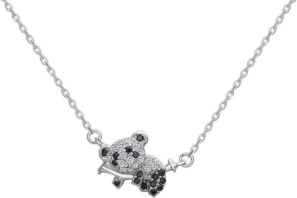 Fanze plata esterlina 925 cúbicos zirconia lindo panda clmb bambú animal colgante collar