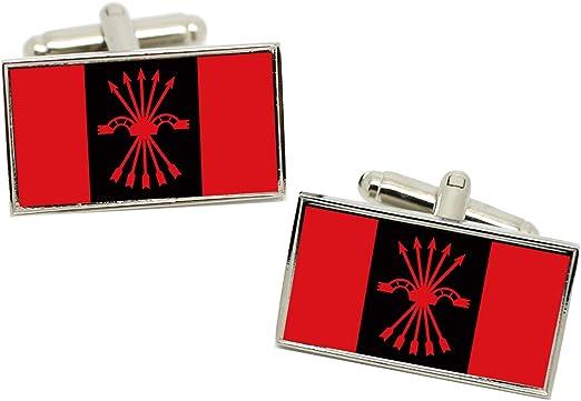 FE de las JONS (Falange) (España) Bandera Gemelos en una Carcasa Cromo: Amazon.es: Ropa y accesorios