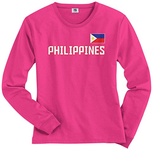 Threadrock Women's Philippines National Pride Long Sleeve T-shirt M Hot (Pride Long Sleeve Tee)
