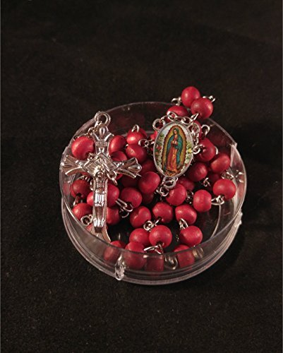 First Communion/ Baptism, Our Lady Of Guadalupe Red Rosaries Gifts,Wood Rosary Party Pack 12 Set.Boy/Girl. Rosarios Para Primera Comunion. Rosarios de Virgen De Guadalupe