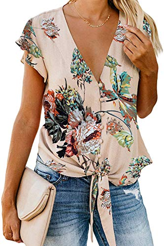 Women Floral Printed Tie Front V Neck Short Sleeve Tops Summer Button Down Shirts Loose Blouses (Beige-46 XL)