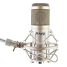 Mugig Condenser Microphone Kit Professional Mic, Adjustable Stand, Shock Mount, Pop Filter, Cable and Mounting Clamp Included