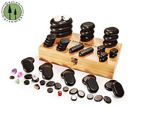Hot Stone Massage 60 PC + Basalt Stones Set W/ Bamboo Box by DevLon NorthWest
