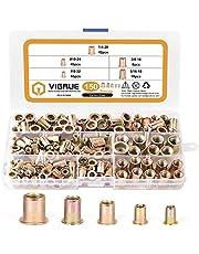 """VIGRUE 150pcs #8-32#10-24 1/4""""-20 5/16""""-18 3/8""""-16 Carbon Steel UNC Rivet Nuts Rivnut Assortment Kit, Yellow Zinc Plated Finish, Flat Head Threaded Insert Nutserts Assort"""