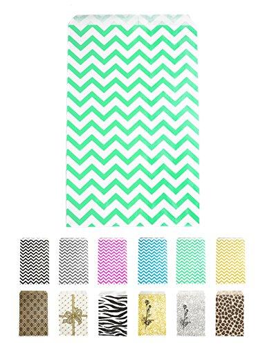 Novel Box Teal Chevron Print Paper Gift Candy Jewelry Merchandise Bag Bundle 4X6