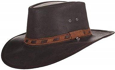 Imperméable Australien Style en Cuir Marron Cowboy Chapeau Buffalo Band Hat