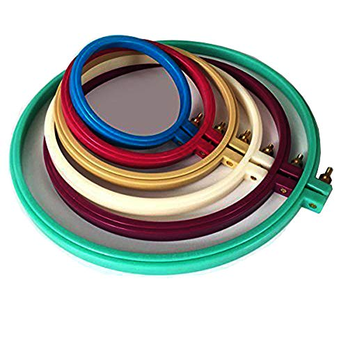 LE PAON 6 Pcs Multicolor-4, 5, 6, 7, 8,10inch Plastic Circle Cross Stitch Hoop Ring,Embroidery Hoops,Embroidery Circle Set -For Art Craft,Sewing,Embroidery,Hang,Decoration