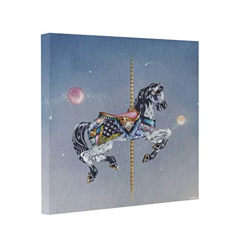 wonbye Canvas Picture Artistic s Fine Art - Grey Mare Carousel Horse Canvas Art Work 8x8 (Carousel Wall Art)