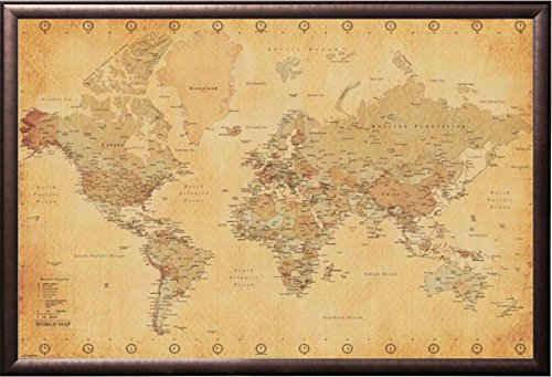 FRAMED Antique Style World Map - Retro Borders 24x36 Poster