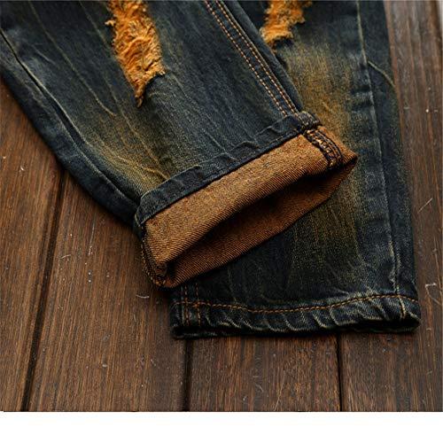 Déchiré Tailles Toutes Pour Eu Décontractés Pantalons Jeans taille 40 Slim Classique Biker Designer Hommes YAzUxv