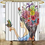 Mikihome Shower Curtains Fabric Madam Butter Style Woman with Flower Botany Head rs