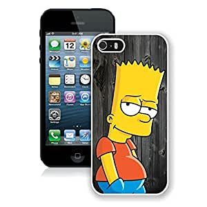 Fashionable Bart Simpson On Wood iPhone 5 5s 5th Generation Case in White