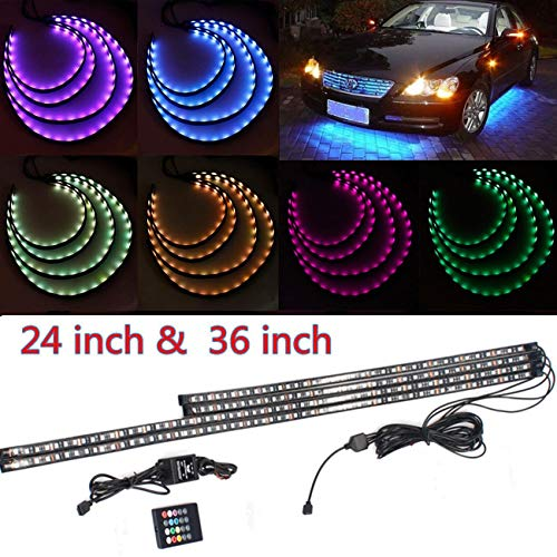 POWLAB Undercar Light,4 in 1 Car LED Neon Glow Light Atmosphere Decorative Light Strip,Underbody System Waterproof Tube RGB 7 Color Underglow Light Strips with Remote Control