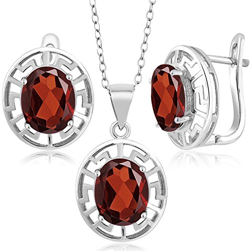 Gem Stone King 7.50 Ct Oval Red Garnet 925 Sterling Silver Pendant Earrings Set With Chain