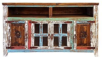 Hiend Fluer De Lis Style Rustic Western Multicolor Antique Distressed Reclaimed Wood TV Stand Solid Wood Already Assembled