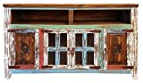 Hiend Fluer De Lis Style Rustic Western Multicolor Antique Distressed Reclaimed Wood TV Stand Solid Wood Already Assembled (72 inch, Multicolor)