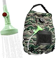 KIPIDA Solar Shower Bag,5 gallons/20L Solar Heating Camping Shower Bag with Removable Hose and On-Off Switchab