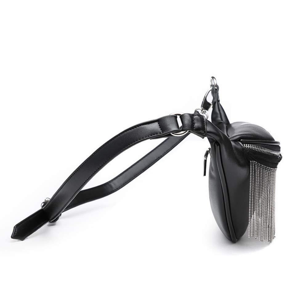 Lyxig metall tofs PU-läder midjeväska design midjeväska trendig bröstväska nytt mode midjeväska Vinröd