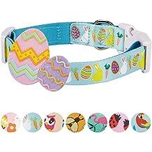 "Blueberry Pet 7 Patterns Easter Spring Bunny and Egg Designer Dog Collar in Sky Blue, Medium, Neck 14.5""-20"", Adjustable Collars for Dogs"