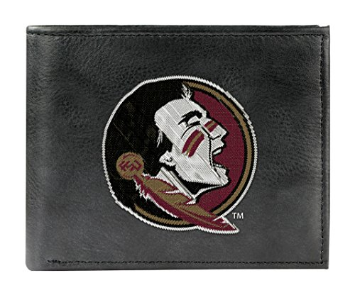 NCAA Florida State Seminoles Embroidered Genuine Cowhide Leather Bi-Fold - Florida University Leather State