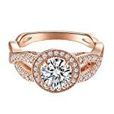Round Diamond Cut Eternity Love Twisting Split Shank Engagement Ring Size 5-10 Jewelry (Rose Gold, 7)