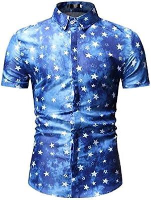QHF Mens Hawaiian Printed Shirt Men Summer Short Sleeve Casual Vacation Shirts 6,L