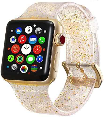 Compatible with Apple Watch Strap 38mm 42mm 40mm 44mm Crystal Bling Silicone Replacement for iWatch Series 4 3 2 1 Nike+