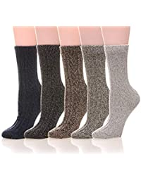 Womens 5 Pairs Soft Thick Comfort Casual Cotton Warm Wool Crew Winter Socks