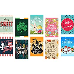 Seasonal Garden Flags Set for Outdoors | 10 Pack Holiday Assortment of 12 x 18 Inch Outdoor Yard Flags, Decorative House Yard Flag | Double Sided, Polyester, Durable