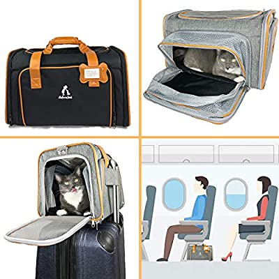 Adorabae Airline Approved Soft Sided Expandable Foldable Pet Carrier Luxury Two Side Expansion for Cats and Small Dogs