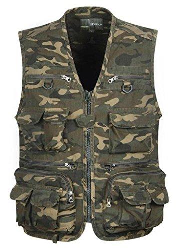 Men's Cotton Muti Pocket Camo Military Photographer Fishing Vest M