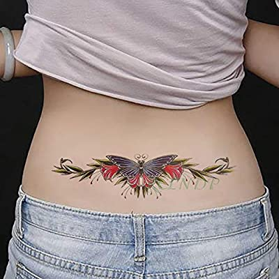 Impermeable tatuaje temporal pegatina Scorpion araña cráneo flor ...