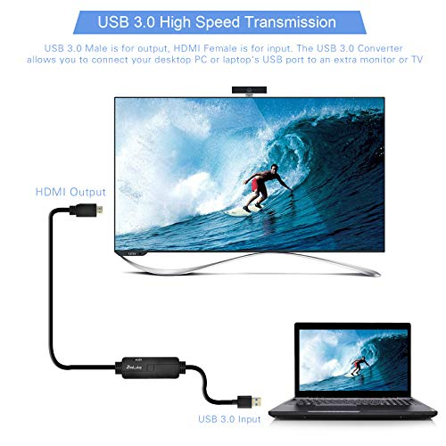 ZasLuke USB 3.0 to HDMI Cable,USB to HDMI Male to Male Converter/Adapter for Windows 10/8/8.1/7 PC & Mac (only Support Mac OS 10.11.6 & 10.12.6), NOT Support XP/Mac/Linux (6FT/2M, Without Audio) by ZasLuke (Image #3)'