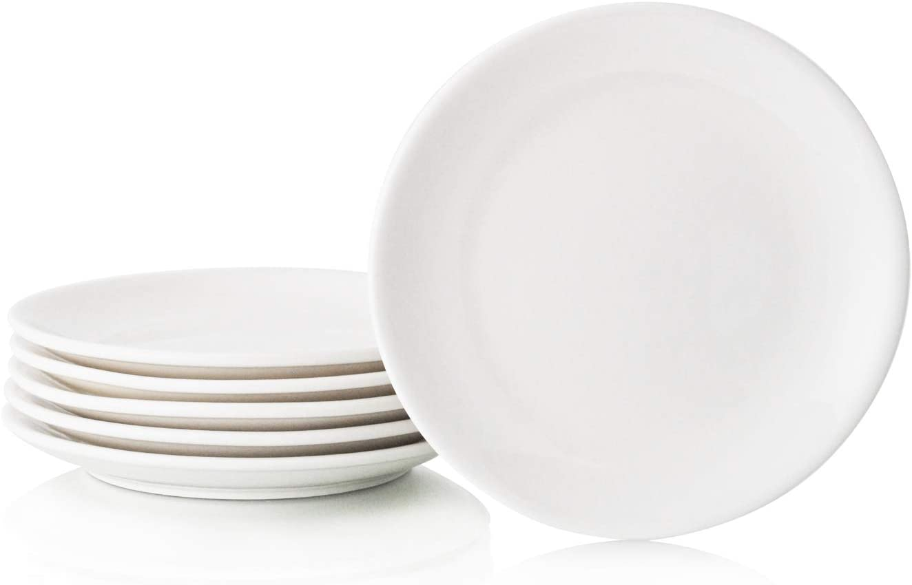 "Hinomaru Collection White Porcelain Round Dinner Plates Set of 6 Durable Porcelain Multi Purpose Serving Plates Home Use Plates Restaurant Supply (7""D x 0.75""H)"