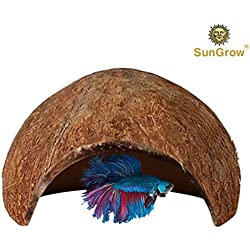 SunGrow Betta Cave, 5x3 Inches, Native Habitat Made from Coconut Shell, Spacious Hideout for Betta Fish to Rest and Breed, 1 Pack
