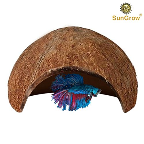 SunGrow Betta cave – Natural habitat made from coconut shells – Soft-textured smooth edges & spacious hideout for Betta fish to rest and breed – Maintains water quality and pH level
