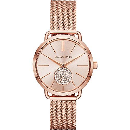 Michael Kors Watches Womens Portia Rose Gold-Tone Watch