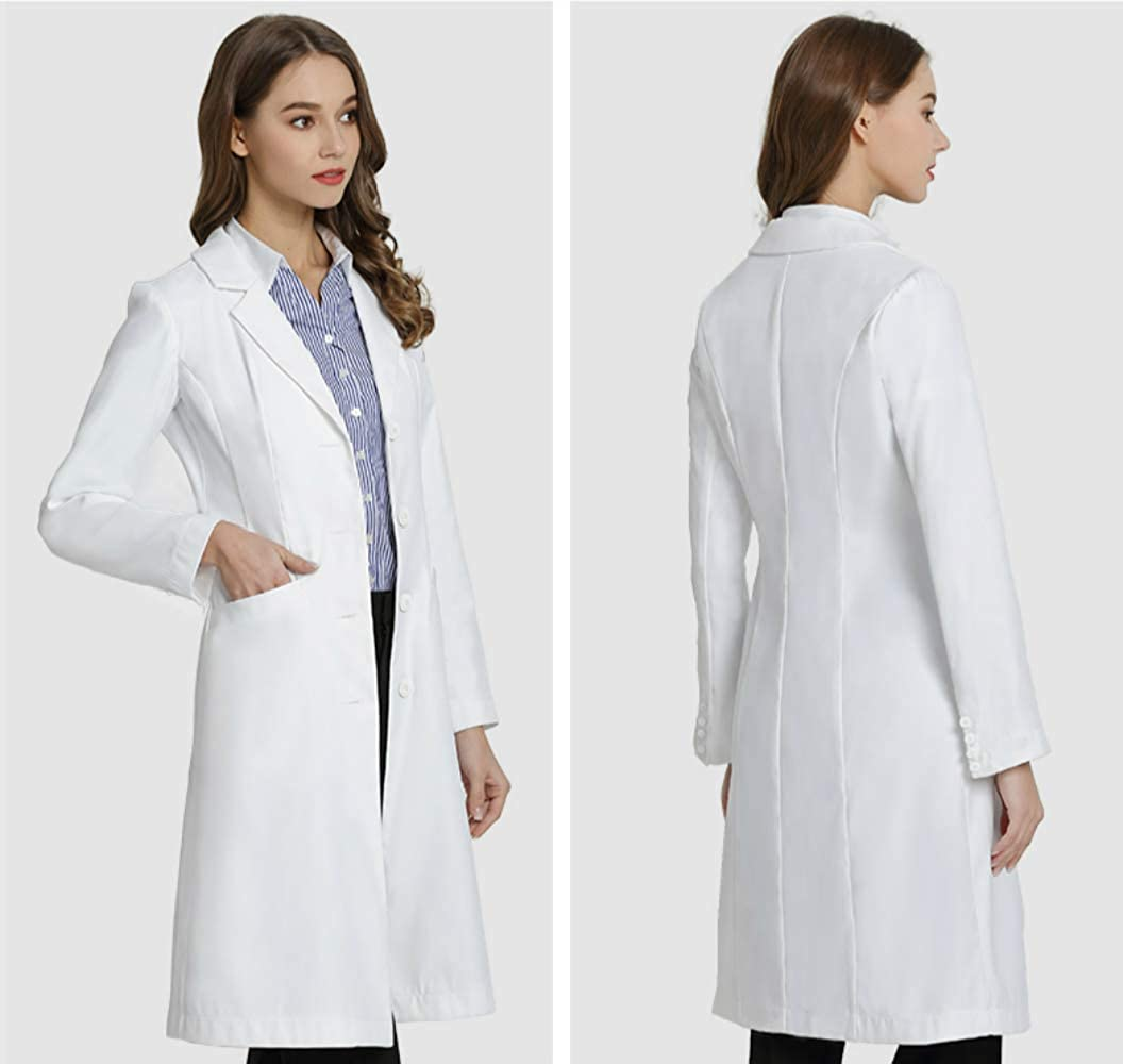 ANNISOUL Professional Lab Coat for Men and Women,Unisex White Medical Doctor Workwear,Classic Fit,Long Sleeve,3 Pockets