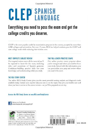 CLEP® Spanish Language Book + Online (CLEP Test Preparation