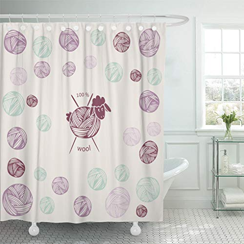 Mountain Wool Knitting Yarn - Emvency Shower Curtain Colorful Knit Sheep Wool Yarn Knitting Needles As Shower Curtains Sets Hooks 60 x 72 Inches Waterproof Polyester Fabric
